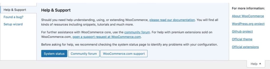 Example of how WooCommerce makes full use of the help tabs